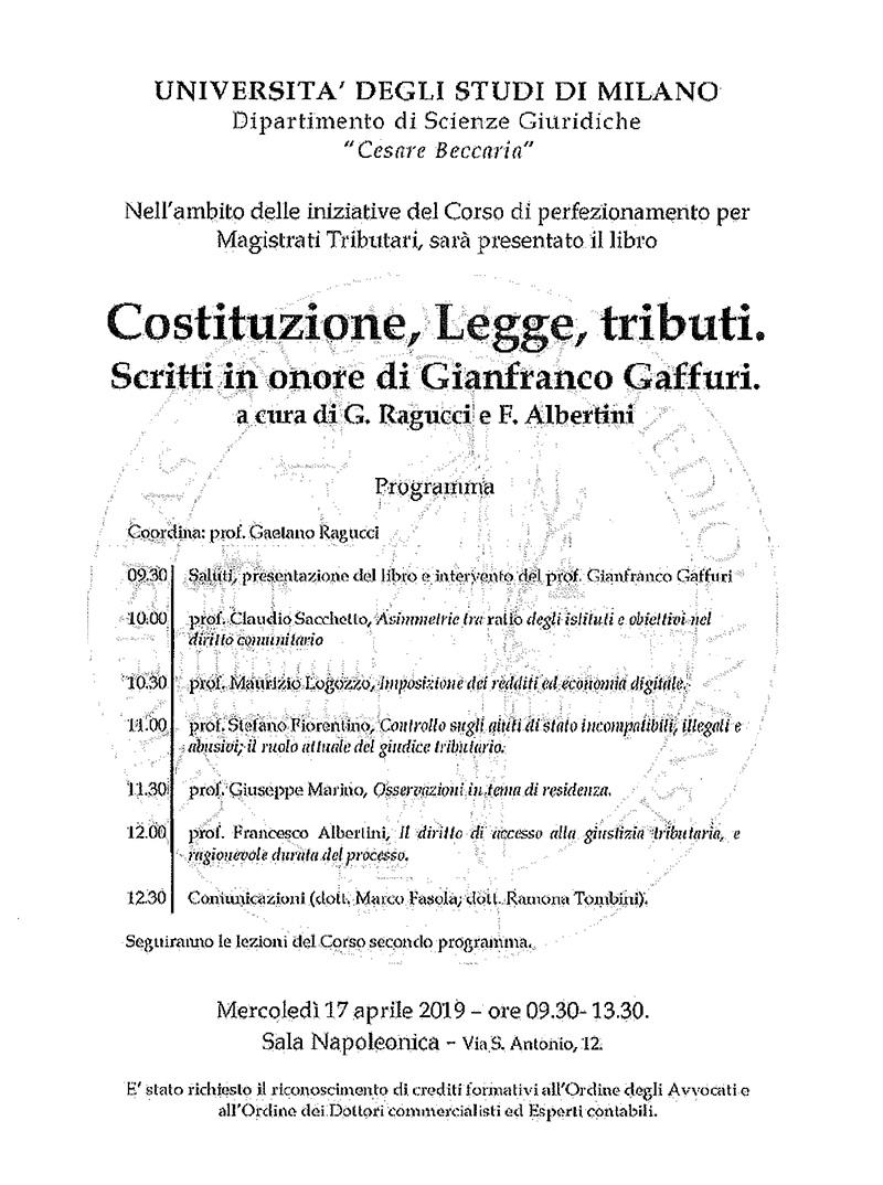 Costituzione Legge tributi locandina